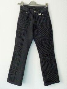 Pantalon/Jean Droit Anthracite À Motif En Velours Noir-Biche De Bere