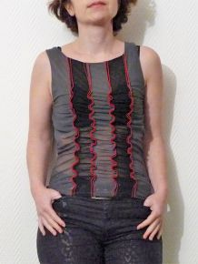 Top En Tulle Gris/Noir/Gris- Feelgood