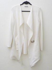 Veste / Gilet Long Original Blanc en lin et viscose - Rodika Zanian