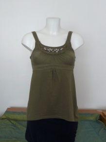 Tee Shirt 60% Coton Kaki À Bretelles avec Strass- C&a