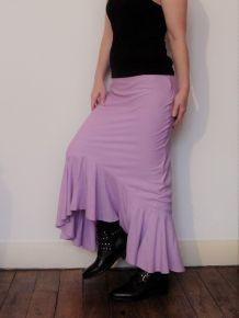 Jupe Longue Lin Coton Viscose Violet Pastel-Taille S-Folia