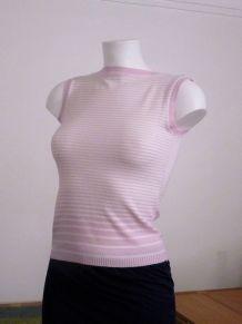 Tee Shirt Sans Manche Blanc Rayures Horizontales Roses -Zara