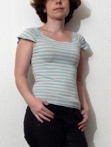 Tee Shirt à Rayures blanc cassé et bleu ciel- Côte Femme