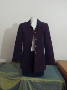 Veste / Manteau Mi Long Léger Bordeaux Irisé Noir-T38- Enjoy