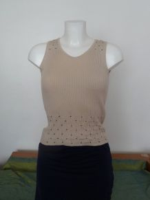 Top Sans Manches en 68% Viscose Beige- S - Folia