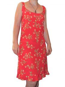 Robe 100% Viscose Rouge Orangé Fleurs Bretelles- Bluelita