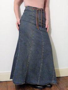 Jupe Longue en Jean avec lien en cuir