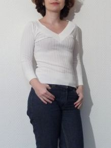 Pull Blanc Col V Manches 3/4 - Loucy