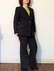 Veste Longue Cintrée Noir Avec 1 Bouton