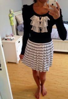 Jupe boule à rayures noires et blanches - H&M