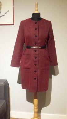 Robe vintage rouge sombre chiné - T.38