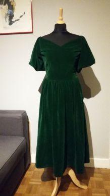 Magnifique robe longue en velours, coupe vintage 50's
