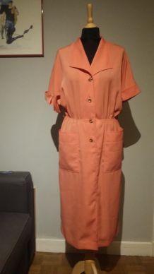 Magnifique robe blouse vintage, rose corail - T.40