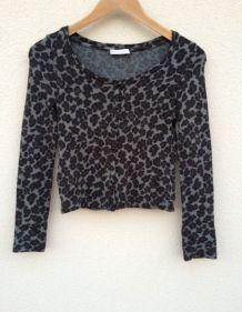 Gilet motif léopard gris