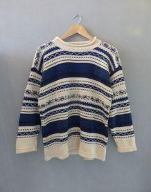 Pull motif aztèque bleu et beige