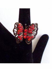 Bague Papillon À Strass Rouge Ajustable