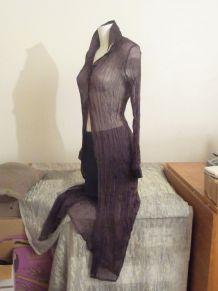 Veste Longue Transparente tissu froissé Violet-T40-Etam