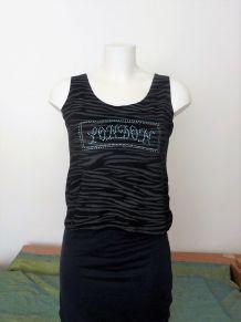 Tee Shirt Noir London Rayures Grises Et Strass-Jano Berge