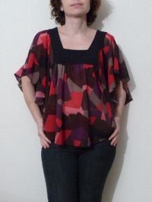 Top Original noire/rose-violet-marron-gris- Zara Basic