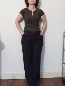 Pantalon noir rayé beige-Dolce & Gabbana