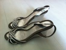 Sandales compensées argentées Darel