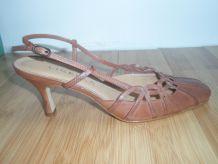 Sandales à talon en cuir neuves