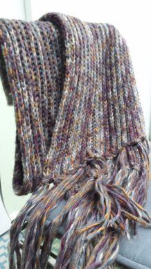 echarpe hiver en grosse maille multicolore