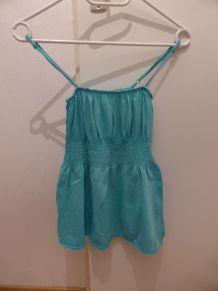 Débardeur bleu turquoise élastique à bretelles