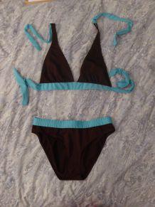 Maillot de bain triangle marron et bleu