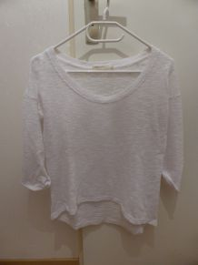 Pull blanc manches 3/4 coupe oversize