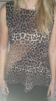 top péplum leopard