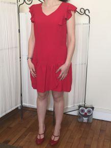 Robe droite rouge doublée Etam