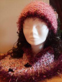Bonnet et Echarpe style châle