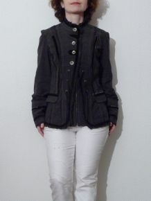 Veste Longue Originale Anthracite- Julie Guerlande