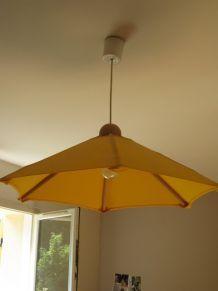 Plafonnier ombrelle tissu et bois
