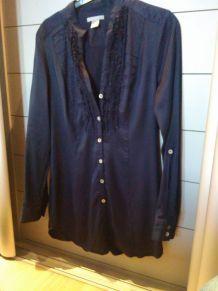 Chemise bleu marine satiné