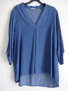 Tunique bleu jeans à rayures manches 3/4. Taille L.
