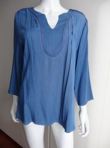 Blouse bleu jean Purple's Neuve taille M.