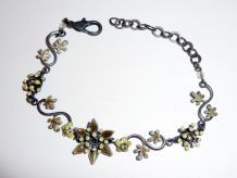Bracelet Fleurs Et Feuilles Bronze Vert