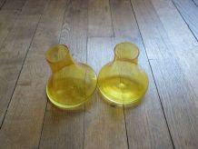 LOT de 2 Vases Originaux  Jaune en Verre Transparent- Neuf