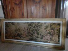 tapisserie ancienne sur bâti bois (136X46) + encadrement