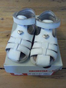 Sandales premiers pas - cuir blanc Orchestra - taille 19