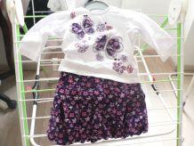 bel ensemble Papillons et Fleurs 6-9 mois, jupe coton doublée polyester tea shirt manches longues coton