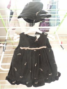 ensemble robe et chapeau coton 3-6 mois