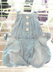jolie salopette 0-3 mois coton jean doublée polyester