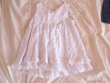 jolie robe blanche brodée doublée d'un beau jupon 100% coton 12-18 mois