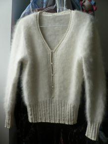 pull vintage blanc angora