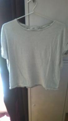 tee shirt rayé crop top ZARA
