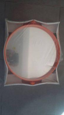Miroir GROSFILLEX orange inclinable années 70 NEUF! D 42 cm