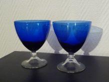 Lot De 2 Coupes À Desserts Ou À Glaces En Verre Bleu Et Blanc Transparent